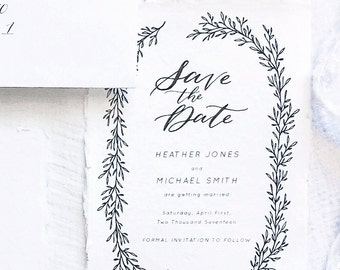 Calligraphy Save the Date // Semi-Custom Save the Date // Save the Date Suite // Wedding Invitation Suite // NORTHBROOK