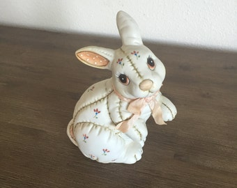 Vintage Lefton China Rabbit Figurine; Hand Painted Ceramic Easter Bunny; Lefton Bunny; Vintage Rabbit Figurine; Quilted Ceramic Rabbit