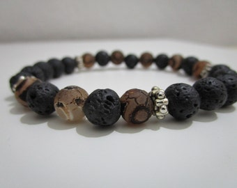 Agate dzi bracelet, Lava bracelet, mens bracelet, bracelet semi-precious stones, gift for men, agate dzi Tibetan, Yoga
