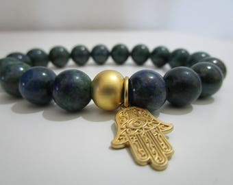 Chrysocolla, Chrysocolla Bangle, bracelet natural stones, Hamza, hand of Fatima bracelet for women, gift for women, jewelry, bracelets