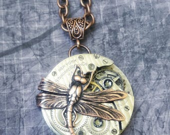Dragonfly Necklace, Steampunk Dragonfly Necklace, Antique Watch Movement Dragonfly Necklace, Dragonfly Jewelry, Steampunk Necklace