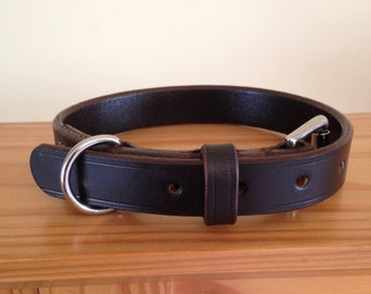 Handmade Leather Dog Collar - 1 Inch Wide - Small, Medium, Large - Black, Brown