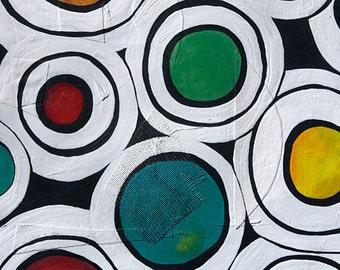 abstract painting, circles,  mixed media art, acrylic painting, unique art, abstract art