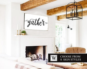 GATHER Sign Large Gather Sign Housewarming Gift Gather Wood Sign Home Decor Fixer Upper Sign Wall Art Rustic Home Decor Canvas Art Wedding