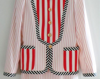 EMANUEL UNGARO PARALLELE Stripe Women 2PC Skirt Blazer Jacket Dress Suit, Italy, Size 4-S