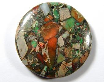 1 Pc - 40x40x6mm Sea Sediment Jasper And Pyrite Pendant Bead - Focal Pendant - Gemstone Pendant - Jewelry Supplies