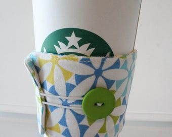 Environmentally Friendly, Reusable Fabric Insulated Coffee Sleeve - Blue/Yellow/Green Geometric Floral