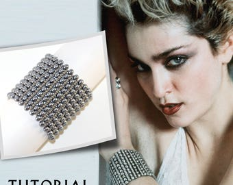 Beading Pattern Bracelet Beadweaving Tutorial Seed Bead Beadwork Beginner Jewelry How to Simple Instruction Madonna Pearl Wide Multi Row DIY