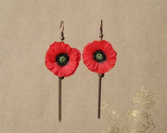Summer birthday gift-for-friend Summer earrings Chain earrings Tassel earrings Fringe earrings Red poppy jewelry Red poppy earrings