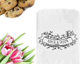 Banner Wedding Logo Design - Floral Wedding Logo Stamp - Summer Wedding Favors Stamp - Custom Wedding Name Stamp - Couples Name Banner