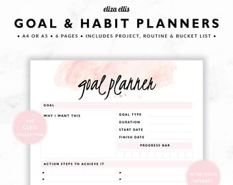 GOAL PLANNERS / Habit Tracker / 2018 Planner / Project Planner / Routine Chart / Checklist / Goals / The Cleo Planners in Sherbet / 423