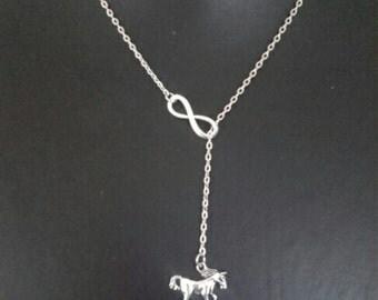 Infinity Horse Necklace,  Silvertone