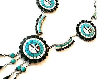 Vintage J. D. Massie  Zuni Signed Squash Blossom Necklace