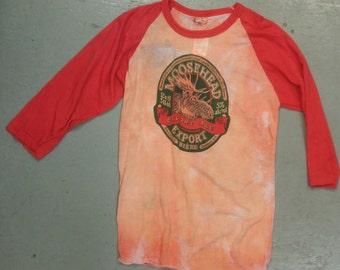 "dead stock 1980s ""MOOSEHEAD"" baseball tee shirt with 3/4 sleeves size M"