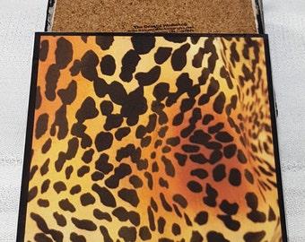 Leopard Print Ceramic Tile Drink Coasters / Leopard Print Coaster Set / Set of 4