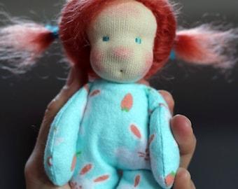 Maya, a tiny baby waldorf doll