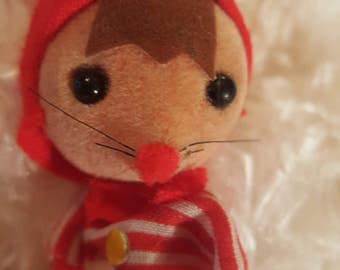 Red and White Christmas Holiday Felt Mouse With Black Button Eyes In Stripped Shirt From Hong Kong 1960's