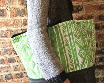 Green Tote Bag with Aztec Print, handmade oversized bag with pocket in abstract pattern, great gift for new mom, carry all holiday large