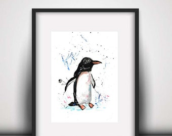 SALE Penguin watercolour PRINT, penguin, watercolour painting, penguin illustration, penguin art print, new baby gift, nursery decor