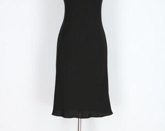 1990s Black Evening Dress S/M - Vintage Little Black Dress - Stone, Bead & Sequin - Jewelled Round Neckline - Flutter Skirt - LBD - Party