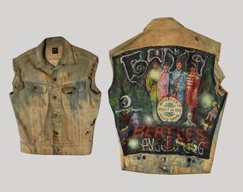 1980s Beatles Denim Painted Vest