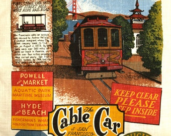 The Cable Car of San Francisco California United States Tea Towel - Powell Hyde Pier 39 Pure Linen - Fisherman's Wharf New Old Stock