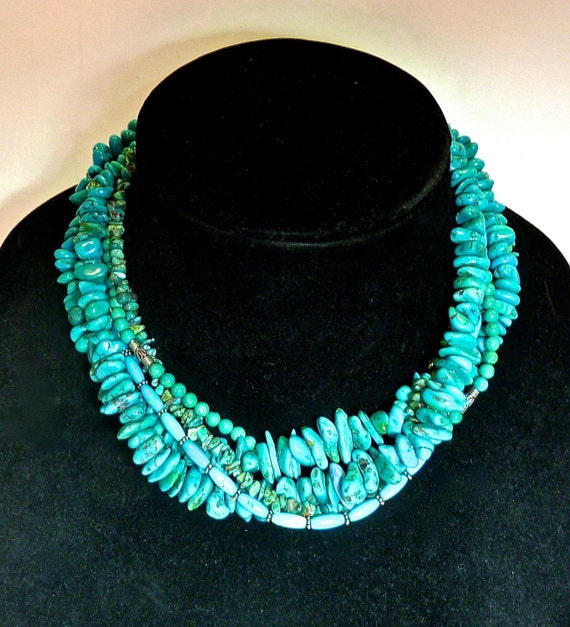 TURQUOISE NECKLACE ~ Five Strand Turquoise 17 Inch Choker ~ Stunning Handcrafted Multi Strand Turquoise And Sterling Silver Necklace