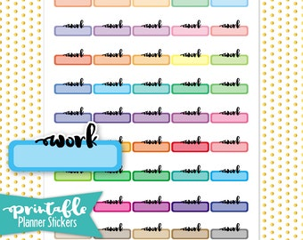 Work Labels PRINTABLE Planner Stickers | Pdf, Jpg, Silhouette Studio V3 Format | ECLP Vertical Planner Stickers