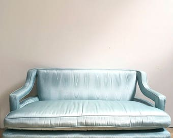 Hollywood Regency Settee / Loveseat - Blue Silk Moire