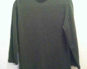 """Vintage Forest Green Wool """"Full Fashioned"""" Sweater, 60s"""