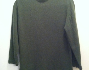 "Vintage Forest Green Wool ""Full Fashioned"" Sweater, 60s"