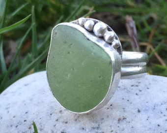 Sea Glass Ring, Size 7 1/2, Mint Green, Sterling Silver, Glass Ring, Green Ring, Mermaid Jewelry