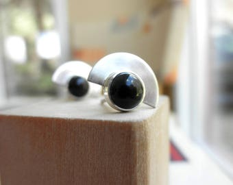 Deco Black Onyx Studs, Egyptian Revival Black Onyx Studs, Sterling Silver and Onyx Studs, July Birthstone