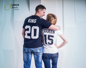 """What is your number? Shirts for couples Custom Couple T-shirts """"King"""" and """"Queen"""" King Queen Tshirt Custom Shirts with Custom Numbers"""