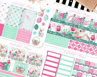 April Monthly View - Easter Bunny Themed Planner Sticker Monthly Kit // 145+ Stickers // Perfect for Erin Condren Vertical Life Planner