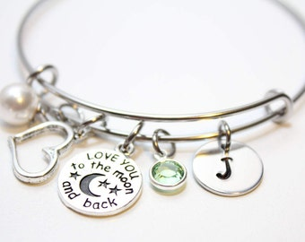 I love you to the moon and back bracelet, I love you to the moon and back bangle,  I love you to the moon and back jewelry