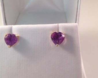 10kt YG Heart Shaped Amethyst Earrings