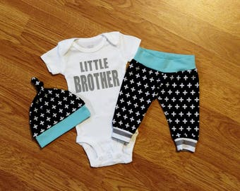 LITTLE BROTHER, Baby Boy Coming Home Outfit, baby shower gift, going home, sibling, siblings, take home outfit, hospital, onesie, hat, pants