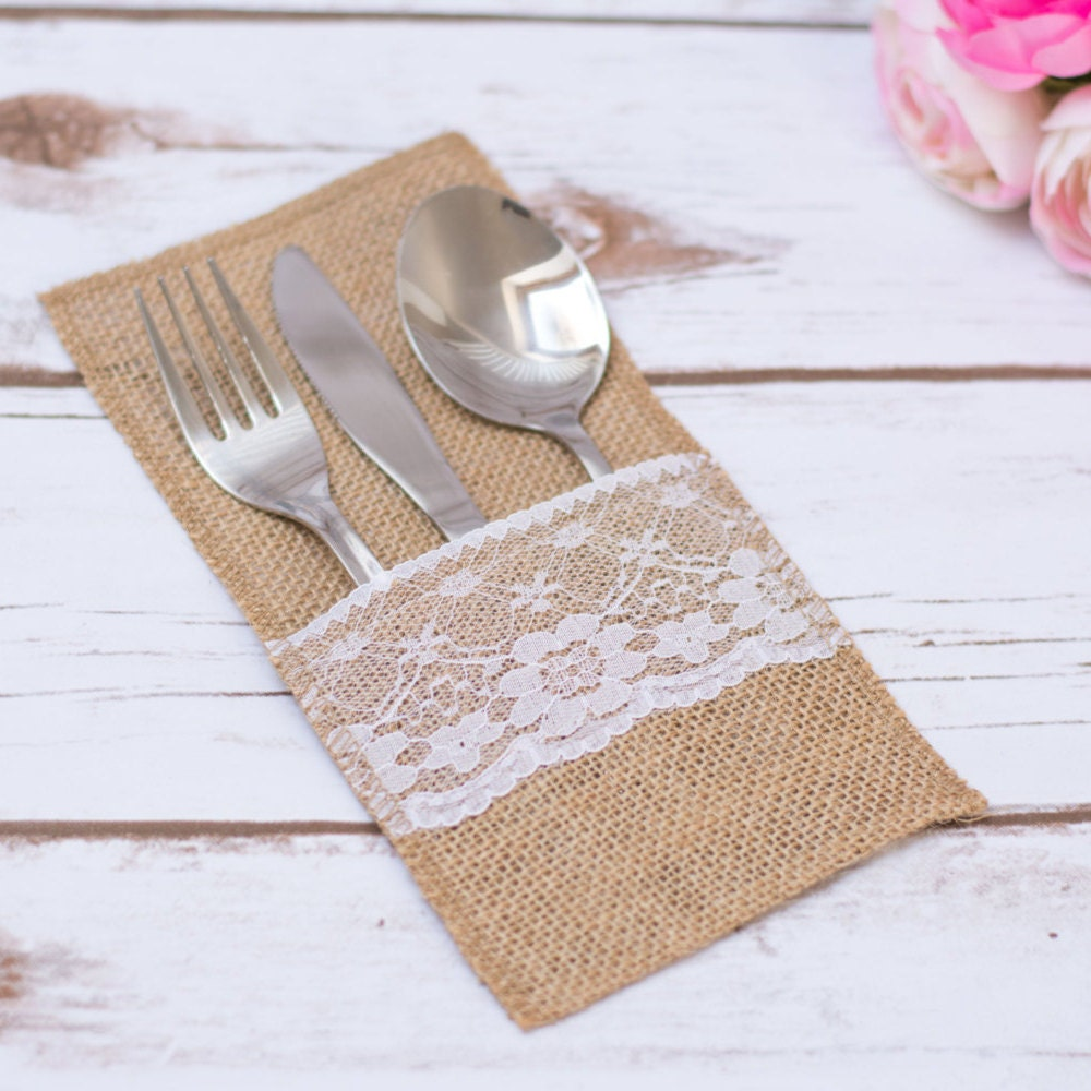 Burlap silverware holder rustic wedding table lace burlap for Wedding table organizer