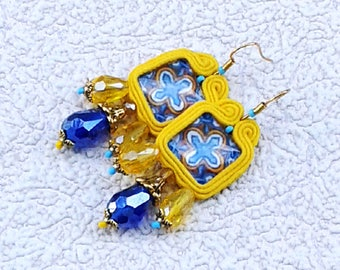 Soutache Earrings yellow colors- Soutache earrings  -  Handmade Earrings. Yellow earrings.