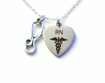 Rn Jewelry, RN Nurse Necklace, Gift for RN Nursing Student Silver Stethoscope Charm Man Men Women Woman Male birthday Christmas present Grad
