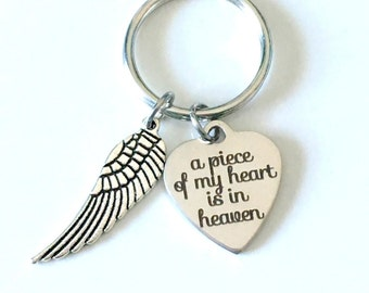 Loss Of Loved One Keychain, Memorial Key Chain with Wing, A piece of my heart is in Heaven In Memory of Mom Dad Son Husband Wife brother