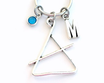 Triangle Keychain, Band Instrument, Gift for Percussion Player Charm Keyring, Silver Key Chain Jazz Musician Musical Music Instrument Custom