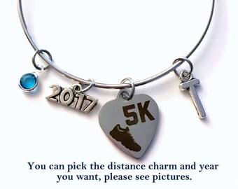 Marathon Runner Jewelry, 5K Half Charm Bracelet, Bangle initial Birthstone Present Gift for Women Running Sneaker 2017 26.2 Full 10 13.1 her