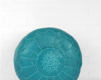 Moroccan Leather Pouffe, Teal
