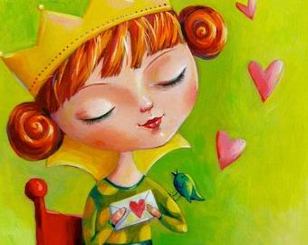 "Original art ""little princess"", acrylic painting, picture, nursery art, home decor"