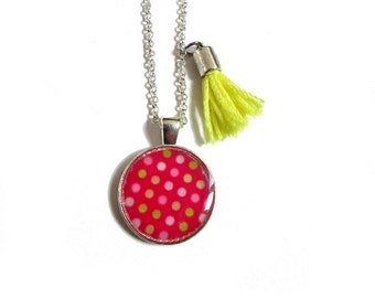 PINK POLKA DOT Necklace - Children necklace - Necklace for girl - tiny necklace - daughter gift - Kids jewelry