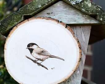 Wood Burning of Chickadee on Wood Slice
