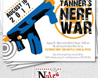 Nerf Party Invitation, Nerf Gun Party, Dart War Invitation, Kids Nerf Birthday Party, Nerf Battle Invite, Custom Nerf Gun | PRINTABLE