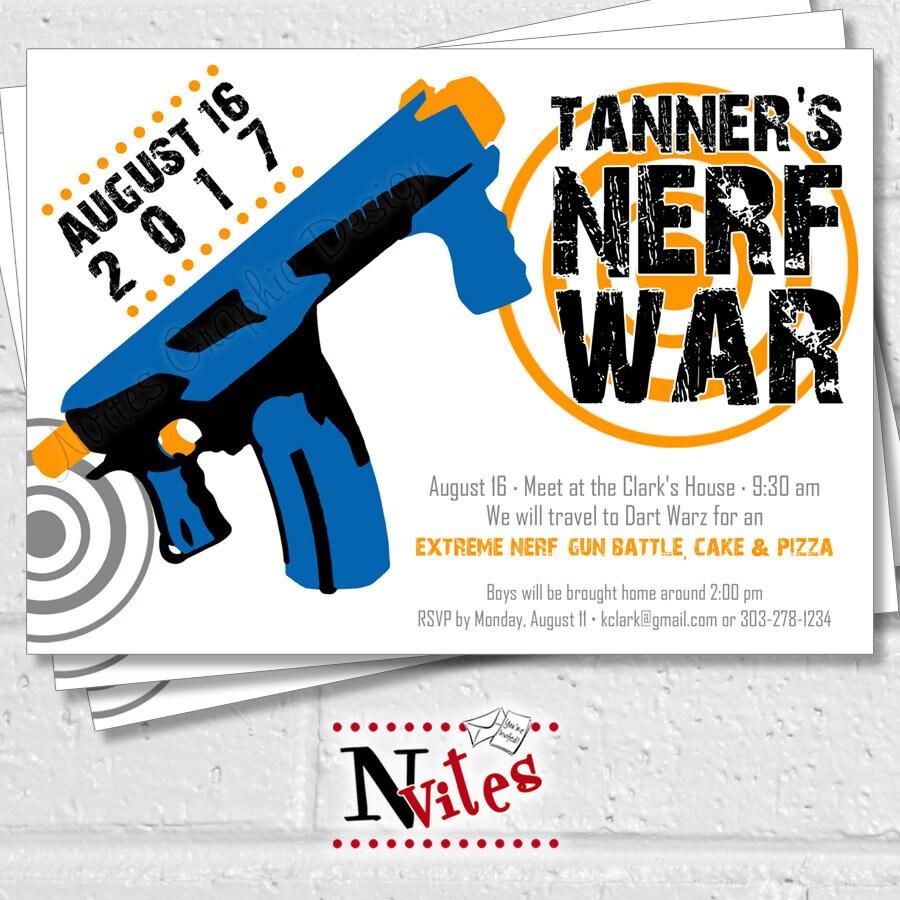 Nerf Party Invitation Nerf Invitation Nerf Party Nerf – Nerf Gun Birthday Party Invitations